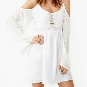 Honey Punch White Bell Sleeve Cold Shoulder Dress